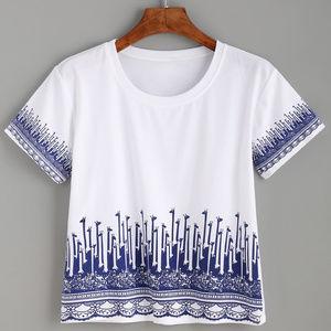 Tops - Giraffe Print Crop T-shirt
